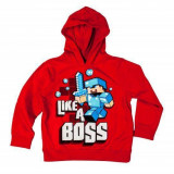 "Minecraft Hanorac ""Like a Boss"" Red 5-6 Ani 100% Bumbac"