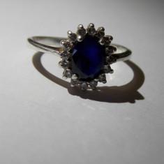 Inel argint cu zirconiu albastru - 685