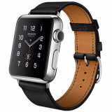 Watch Hermes 38MM Carcasa din Otel Inoxidabil si Curea Piele Single Tour Neagra - Smartwatch Apple, Argintiu, Apple Watch