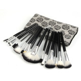 Set 18 pensule machiaj imprimeu floral pensoane make up profesionale trusa fard