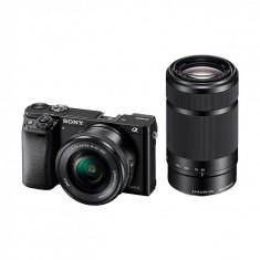 Aparat foto Mirrorless Sony A6000 negru + Obiectiv E SEL 16-50mm f/3.5-5.6 PZ OSS + Obiectiv E SEL 55-210mm f/4.5-6.3, Kit (cu obiectiv)