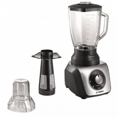 Blender de masa Bosch MMB64G3M, 800 W, 2, 3 l, 3 Programe auto, Vas din sticla, Minitocator, Smoothies, Negru/Inox