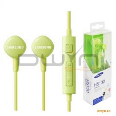 Samsung HS1303 Stereo Headset Green ( microfon, gold plated 3, 5 mm/ 1.2 M), Casti In Ear, Cu fir, Mufa 3, 5mm, Active Noise Cancelling
