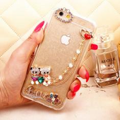 Husa IPHONE 6 cu lant brodaj inima strasuri design Beauty LUX - Husa Telefon