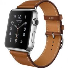Watch Hermes Watch 38MM Carcasa din Otel Inoxidabil si Curea Piele Single Tour Maro - Smartwatch Apple, Argintiu, Apple Watch