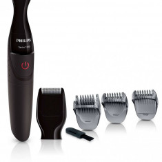 Philips Masina de tuns barba Philips Multigroom MG1100/16, Baterie, 3 piepteni, 4 trepte, Negru/Rosu - Aparat de Tuns