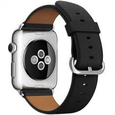 Curea Piele Classic Buckle Neagra Apple Watch 38MM