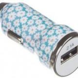 Incarcator Auto Trendz Bullet Ditsy Floral TZICCFL, 1 USB, 2.1A (Albastru)