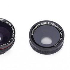 Set lentile smartphone 4 in 1 - Macro Fish-eye Wide Angle Polarising