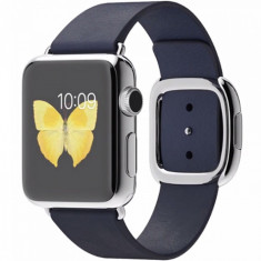Smartwatch Apple 38 mm carcasa din otel inoxidabil si curea modern albastra s mj332ll, Argintiu, Apple Watch