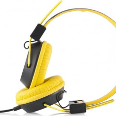 MODECOM CASTI MC-400 CIRCUIT YELLOW, Casti On Ear, Cu fir, Mufa 3, 5mm, Active Noise Cancelling