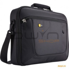 Geanta laptop 15.6' Case Logic, slim, buzunar interior 10.1', buzunar frontal, poliester, black 'ANC, Nailon, Negru