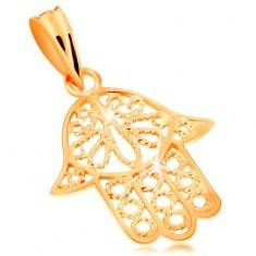 Pandantiv din aur 585 - mâna Fatimei decupată decorativ, suprafață lucioasă - Pandantiv aur