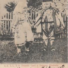 REGALITATE ROMANIA, PRINTUL CAROL SI PRINTESA ELISABETA, CLASICA, CIRC.1900 - Carte postala tematica, Circulata, Printata