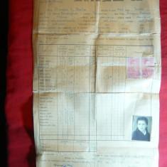 Foaie Matricola Liceul de Fete Elena Doamna - Cernauti 1943 - Diploma/Certificat