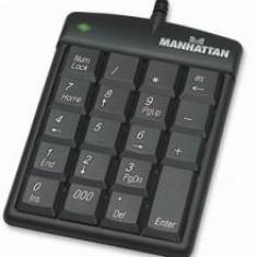 Tastatura numerica ultra subtire USB negru, Manhattan, Cu fir