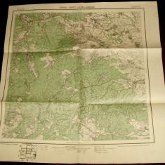 1930 Harta militara CORNU LUNCII si GURA HUMORULUI, jud Suceava format 49x48 cm