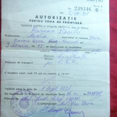 Autorizatie pt Zona de Frontiera - 1951- Directia Gen. A Militiei - Hartie cu Antet
