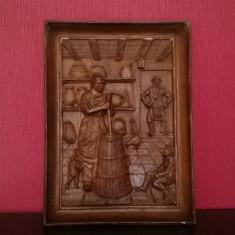 TABLOU VECHI SCLUPTAT IN LEMN SCENA RUSTICA DE INTERIOR IESIT IN RELIEF