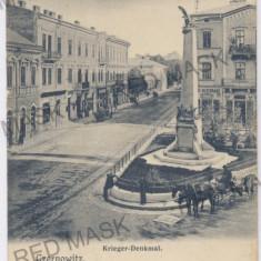 3585 - Bucovina, CERNAUTI, Market, Statue - old postcard - unused - Carte Postala Bucovina 1904-1918, Necirculata, Printata