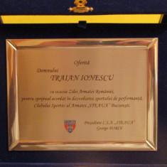 Placheta fotbal acordata fostului jucator Traian Ionescu-CCA (Steaua) Bucuresti