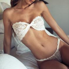Lenjerie Lady Lust Sexy Dantela Babydoll Bikini Lace Bikini Sutien Set 2 pcs - Lenjerie sexy dama, Culoare: Alb, Marime: One size