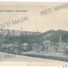 3521 - Bucovina, CERNAUTI, bridge destroyed - old postcard - unused - Carte Postala Bucovina 1904-1918, Necirculata, Printata