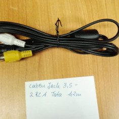 Cablu Jack 3, 5 - 2 RCA Tata 1, 2 m - Cablu Camera Video