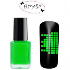 Oja speciala pt matrita ce se aplica cu stampila, Amelie verde neon 12 ml - Lac de unghii