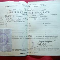 Certificat de Nationalitate 1946 cu 6 timbre fiscale - Diploma/Certificat