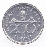 Moneda Ungaria 200 Forinti 1992 - KM#689 aUNC ( argint 12 g - Banca Nationala )