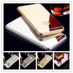 Bumper / Husa silicon / Gel TPU cu spate oglinda pentru iPhone 6 plus / 6s plus - Husa Telefon, Negru