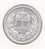 Moneda Ungaria 1 Korona 1915 - KM#492 UNC (argint - foarte frumoasa), Europa