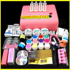 KIT UNGHII FALSE SET MANICHIURA 12 GELURI COLOR LAMPA UV Sina