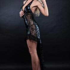 Lenjerie Lady Lust Sexy 212 Dansatoare Club Piele Eco Dantela Costum Dans Gothic - Rochie de club, Culoare: Negru