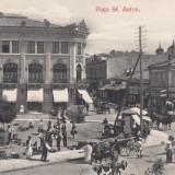 BUCURESTI, PIATA SF. ANTON, MAGAZINE, CARUTE, ZI DE TARG - Carte Postala Muntenia 1904-1918, Necirculata, Printata