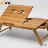 Masuta laptop masa notebook pliabila lemn bambus ventilatoare Reglabila E-table
