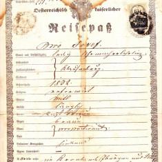 Pasaport 1856 emis la Cluj pt. Satu Mare-Seini-Baia Mare,document fiscal  6 kr
