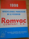 NOMENCLATORUL PRODUSELOR DE UZ VETERINAR - 1998 - ROMVAC
