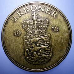 7.530 DANEMARCA FREDERIK IX 2 KRONER 1952, Europa, Bronz-Aluminiu