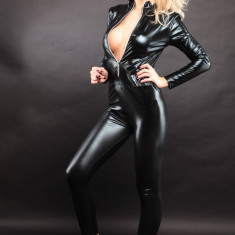 Lenjerie Lady Lust Sexy 306 Catsuit Jumpsuit Cat Woman Vinil Piele PU Masca