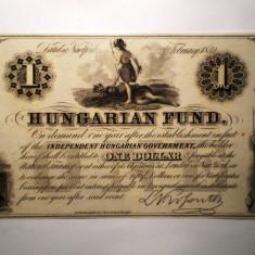 153. UNGARIA UNGARIAN FUND. KOSSUTH 1 ONE DOLLAR 1852 AUNC - bancnota europa