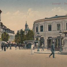 BUCURESTI, PIATA SF. GHEORGHE, MONUMENTUL LUPOAICA, DROGUERIE, BERARIE - Carte Postala Muntenia dupa 1918, Necirculata, Printata