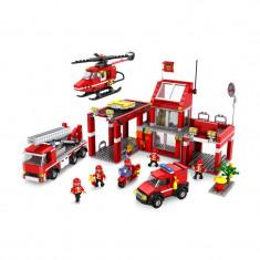 JOC CONSTRUCTIE TIP LEGO CU PIESE COMPATIBILE 100%, STATIA DE POMPIERI, 827pcs. - Set de constructie, Unisex