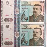 Lot / Set 2 BANCNOTE ROMANIA, 200 lei - 1992, serii consecutive *UNC Antipa - Bancnota romaneasca
