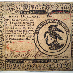 100. USA SUA COLONIAL CONTINENTAL CURRENCY 3 DOLLARS 1776 Philadelphia - bancnota america