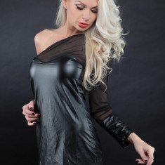 Lenjerie Lady Lust Sexy Babydoll Rochita Piele PU Neagra Open Sholder Club - Rochie de club, Culoare: Negru