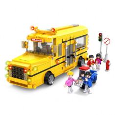 JOC DE CONSTRUCTIE DIN PIESE TIP LEGO, COMPATIBILE 100%.AUTOBUZUL SCOLAR CU ELEVI - Set de constructie, Unisex