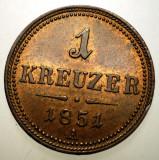 A.244 AUSTRIA 1 KREUZER 1851 A XF/AUNC, Europa, Cupru (arama)