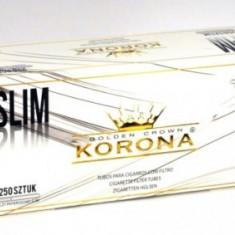 Tuburi tigari KORONA SLIM ALBE / WHITE - 250 buc. cutie pentru injectat tutun - Foite tigari